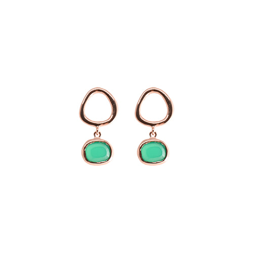[All 92.5 Silver] Green Onyx Open Circle Post Earrings/[전체 92.5 실버] 그린 오닉스 오픈 써클 포스트 귀걸이