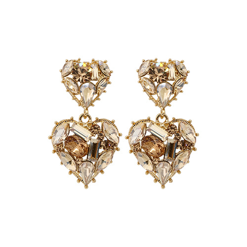 Champagne Stone Double Heart Drop Earrings/샴페인 스톤 더블 하트 드롭 귀걸이