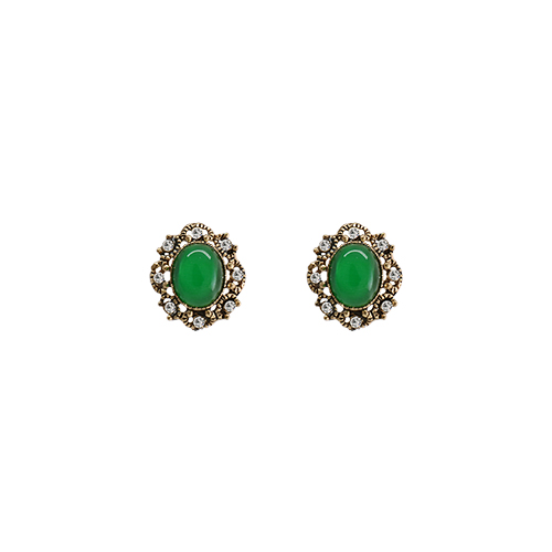 Antique Green Mirror Post Earrings/앤틱 그린 미러 포스트 귀걸이