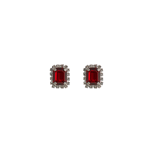 Little Square Red Post Earrings/리틀 스퀘어 레드 포스트 귀걸이