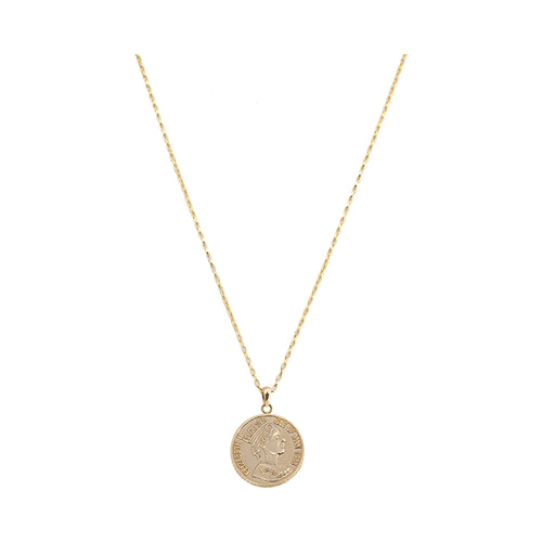 [All 92.5 Silver] Gold Coin Long Necklace/[전체 92.5 실버] 골드 코인 롱 목걸이