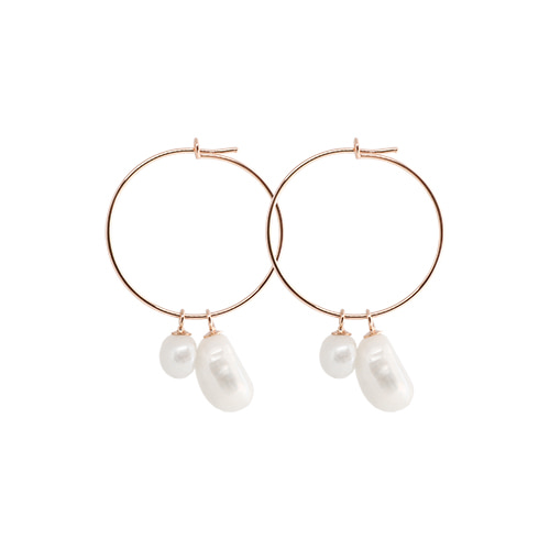 [All 92.5 Silver] Natural Pearl Ring Earrings/[전체 92.5 실버] 네츄럴 펄 링 귀걸이