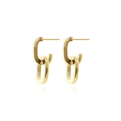 [All 92.5 Silver] Gold Chain Shape Post Earrings/[전체 92.5 실버] 골드 체인 쉐입 포스트 귀걸이