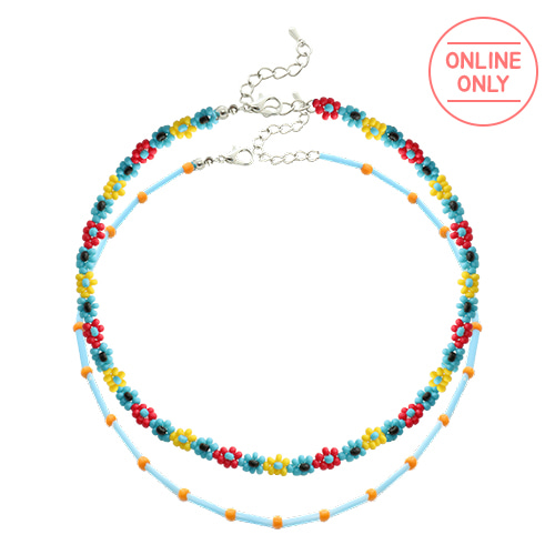 Color Beads Flower Layered Necklace/컬러 비즈 플라워 레이어드 목걸이